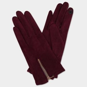 Burgundy Red Faux Suede Zippered Gloves Accessory